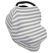 Kolamom Baby Canopy Car Seat Cover Multi-Use Infant Nursing Cover Stretchy Breathable Canopies Giftset Grey