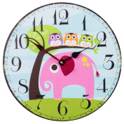 SkyNature Colourful Decorative Wooden Wall Clock Silent Non- ticking for Kid's Room