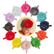DUOQU Baby Girl's Soft Headbands Hairband With Flower Boutique Hair Accessories Multicolor 12 Pcs