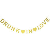 Drunk in Love Gold Glitter Banner Holiday Decoration Photo Prop Bunting Garland Bridal Shower Bachelorette Decor Wedding Sign Party Decoration