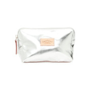 CAVALCANTI Leather makeup bag - Silver