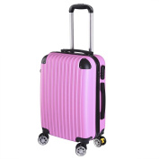 GHP 210D Polyester ABS Shell 360°-Rotating Wheels Pink 50cm Trolley Case Luggage Bag