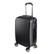 GHP 210D Polyester ABS Shell 360°-Rotating Wheels Black 50cm Trolley Case Luggage Bag