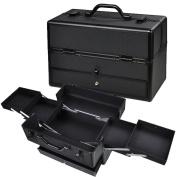 GHP 37cm x 18cm x 9.60cm Black Aluminium Frame Makeup Case w Drawers & Extendable Trays