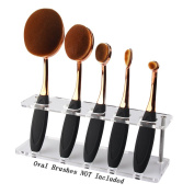 Summifit 5 Holes Oval Makeup Brushes Holder Toothbrush Makeup Brush Kit Drying Rack Oval Brush Set Organiser Shelf