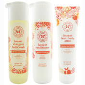 The Honest Company Apricot Kiss - Shampoo + Body Wash (300ml) & Conditioner (300ml) & Face + Body Lotion