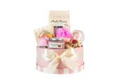 Deluxe Gift Box - Vanilla Donut, Mixed Fruit Tart, Strawberry Macaron Lip Balm, Bubble Scoops, Bath Bombs, Loofah Soap, and Body Scrub