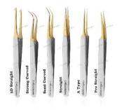 Alluring Chrome with Gold Tip Tweezers for Eyelash Extension
