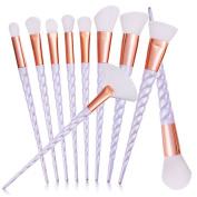 DOITOP 10Pcs Unicorn Make Up brushes Professional Foundation Eyebrow Eyeliner Blush Cosmetic Concealer Brushes Super Soft White Hair