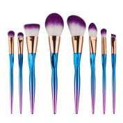 ExGizmo Pro 8Pcs Rainbow Colour Makeup Purple Hair Powder Foundation Eyeshadow Eyeliner Brushes Set