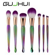 ExGizmo 7PCS Mermaid Purple Hair Make Up Foundation Eyebrow Eyeliner Blush Cosmetic Brushes Set Tools