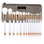 UNIMEIX 15pcs Makeup Brush Set Synthetic Kabuki Comestics Foundation Blending Blush Eyeliner Face Powder Brush Comestic Tool With Bag
