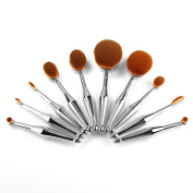 10pcs Makeup Brushes (With Box) Sliver toothbrush Type Brushes Set