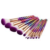 ExGizmo 11PCS Kabuki Honeycomb Multicolor Foundation Blusher Eyebrow Face Powder Makeup Brushes Set