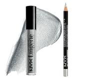 NYX Lid Lingerie Eye Tint Fame & Fortune + NYX Slim Eye Pencil Silver Glitter