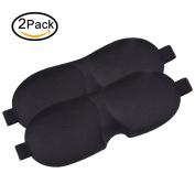 CoolingTech Lightweight & Comfortable Sleep Mask 3D Contoured Shape Sleeping Eye Mask with Adjustable Hook and loop Strap for Men Women, Best Sleeping mask for travel, Shift works 2 Pack
