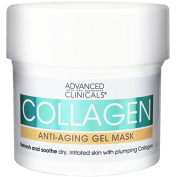Advanced Clinicals Collagen Anti-Ageing Gel Mask with Coconut Oil and Rosewater. Plumping mask for wrinkles, fine lines. Supersize 160ml