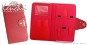 KENCHII Red Faux Leather 5-scissor Snap Case with Magnetic Snap Closure