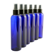 240ml Cobalt Blue Empty Plastic PET Spray Bottles with Fine Mist Atomizer Caps (6-pack); for DIY Home Cleaning, Aromatherapy, & Beauty Care