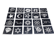 Pack of 20 Sheets Crafts Adhesive Stencils Template for Henna Tattoo Painting Glitter Tattoos