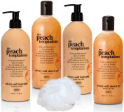 "BRUBAKER Happiness ""My Peach Temptations"" 5 Pcs Beauty Gift Set. Shower Gel, Body Milk Sponge - Made in GERMANY!"