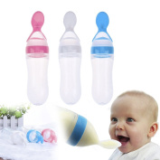 Silicone Squeeze Feeding Bottle with Spoon Infa Feeder Squeeze 90ml Baby Food Dispensing Spoon