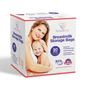 50 Breastmilk Storage Bags - 6oz / 180ml Pre-Sterilised & BPA-FREE Bags, Designed for Even and Faster Thawing with Leak Proof Mechanism by Nurture Right