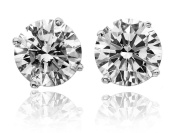 Shraddha Shree Gems Certified Natural ZirconBe You 24k White Gold Plated Solitaire Stud Earrings for Men & Women