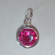 1.9ly Sterling Silver CZ Garnet Colour Crystal 8mm Charm Drop by JensFindings
