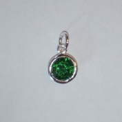 1.9ly Sterling Silver CZ Emerald Colour Crystal 8mm Charm Drop by JensFindings