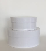 Round Nesting Boxes, Set/2, Gloss White Nested Gift Boxes