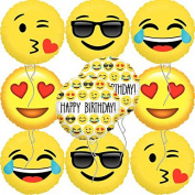 Ivenf 745780007343 Mylar Emoji Smiling Faces Happy Birthday Party Balloons Supplies (10 Pack), 46cm , Yellow