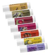Artisan Jojoba Oil Hand Lip Balm Sample Pack, 7 different mild natural scents .440ml each, Lemon, Orange, Lavender, Passion Fruit, Honey, Pomegranate, Unscented.