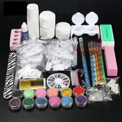 iMeshbean Acrylic Liquid Nail Art Tips Brush Glue Glitter Powder Buffer Tools Set Kit for Professional and Home Use USA