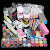 iMeshbean 42 IN 1 Nail Art Set Acrylic Nail Powder Glitter Brush All in 1 Nail Art Decoration Tools Kit Set for Professional and Home Use USA