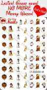 Disney Beauty and the Beast Nail Art Decals. Clear Vinyl PEEL and STICK Nail Decals (NOT WATERSLIDE) Set of 60 by One Stop Nails CV-BAB-001-60