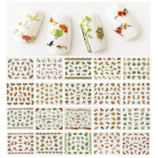 ALLYDREW Cherry Blossoms Asian Inspired Nail Art Foil Nail Stickers, 50 sheets