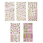 ALLYDREW Pink & Gold Foil Nail Art Nail Stickers, 5 sheets (450+ stickers) - Prints