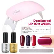 Sexy Mix Gel Nail Polish Starter Kit with LED Lamp Nail Dryer Nail Buffer and Soak Off UV LED Base Top Coat Gel Polish 3 Colours