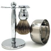 Genuine Badger Brush Deluxe Chrome Brush Handle + Shaving Brush Stand Holder for Razor and Brush + Stainless Steel 420 Bowl