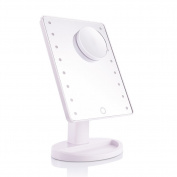 Touch Screen 16 Led Vanity Lighted Makeup Mirror With Removable 10X Magnifying Mirrors,Cosmetic Desktop Mirror With Stand