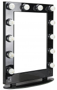 HIKER Lighted Vanity Mirror in Black Glossy, Dimmer