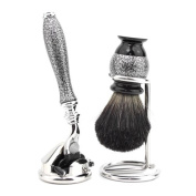 Shaving Set with Gillette Mach 3 Hand Assembled razor , Black Badger Brush and Stands, Great Gift Idea for HIM