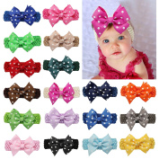 DUOQU 18 Pcs 10cm Baby Girls Soft Headbans With Big Hair Bows Flowers Multicolor