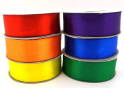 6 Rainbow Colours Ribbons 25 Yard Satin or 50 Yard Organza Rolls, Choose Width