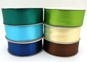 6 Peacock Carnivale Colours Ribbons 25 Yard Satin or 50 Yard Organza Rolls, Choose Width