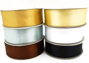 6 Basic Neutral Colours Ribbons 25 Yard Satin or 50 Yard Organza Rolls, Choose Width