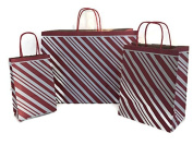 Christmas Gift Bags Set of 30, Assorted Sizes Small Medium Large - Red Peppermint Stripe Recycled Kraft Gift Bags