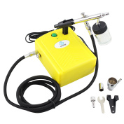 OPHIR 0.35mm Dual-Action Airbrush Kit Mini Air Compressor for Temporary Tattoo Hobby Cake Decoration