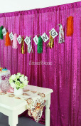 QueenDream Fuchsia sequin photography backdrop christmas,backdrop wedding decoration, Size:1.2m x 2m